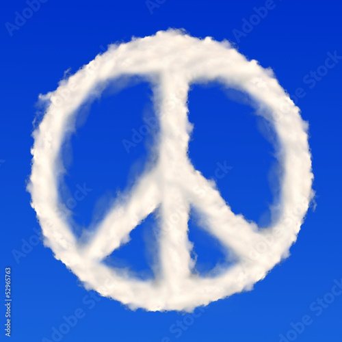 peace symbol  from clouds