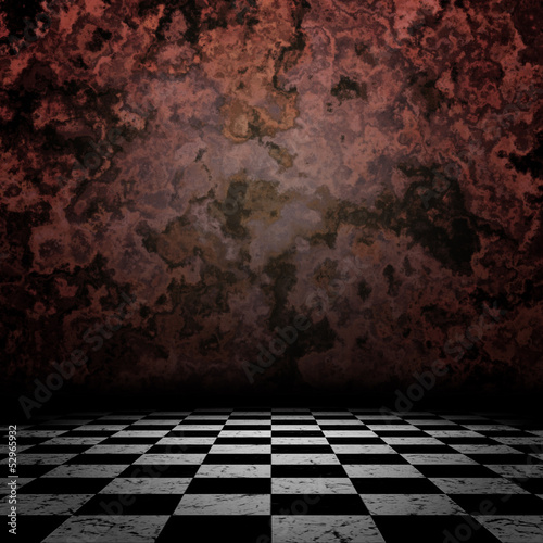 Old room with checkerd floor