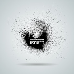 Vector black banner with ink splashes