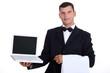 Waitor holding laptop