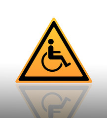Yellow Warning Sign with a Disabled icon on it