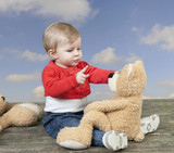 little toddler with teddy bear