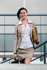 Businesswoman arriving at work