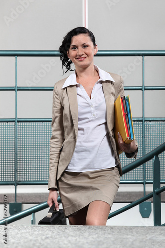 Businesswoman arriving at work