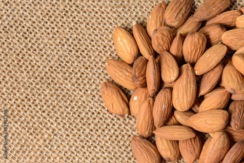 Almonds on a Burlap Background