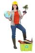 Cute brunette apprentice holding globe