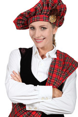 Woman in traditional Scottish outfit