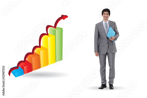 Businessman with an upward bar chart