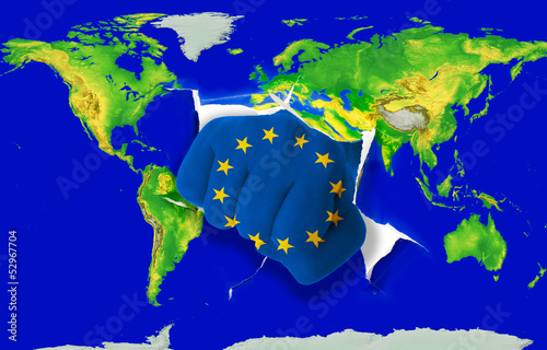 Fist in color  national flag of europe    punching world map