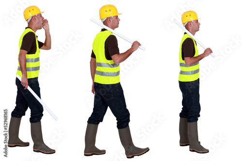 Three profile images of a workman in a reflective vest