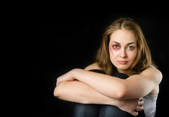 Young beautiful woman suffering from a severe depression. isolat