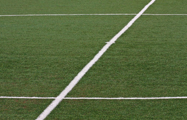 Center circle of a soccer field before the football match
