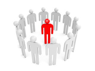 Abstract white 3d people stand in ring with one red