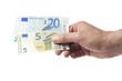 Hand hält fünfundzwanzig Euro