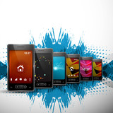Abstract smart phone or mobile colorful handset collection prese