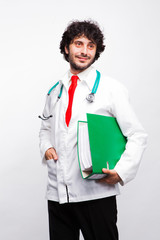 doctor with green files