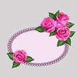 Gift card with realistic roses flowers and ornated frame