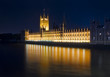 London night view. Houses of Parliament and River Thames