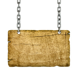 lank wooden sign hanging on a chain. isolated on white