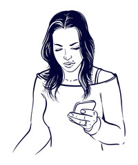 Teen girl reading a message on her smartphone.