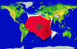 Fist in color  national flag of morocco    punching world map
