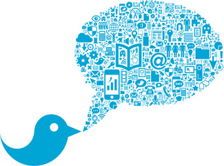 Bird with Social Media icons