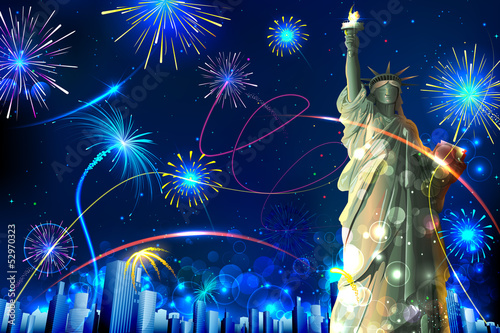 Statue of Liberty on Firework background
