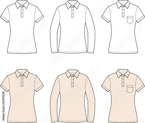 Vector illustration of women's polo t-shirts