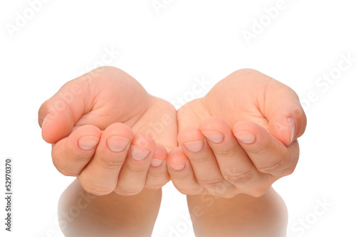 Hands of young woman isolated
