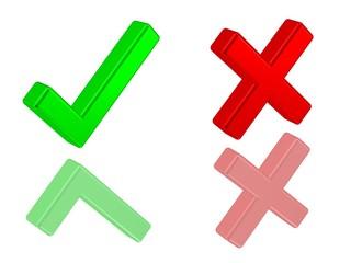 Dialog-Symbole Ok und Abgelehnt
