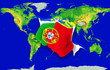 Fist in color  national flag of portugal    punching world map