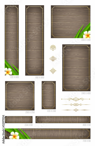Wooden backgrounds with tropical flowers - standard  web banners