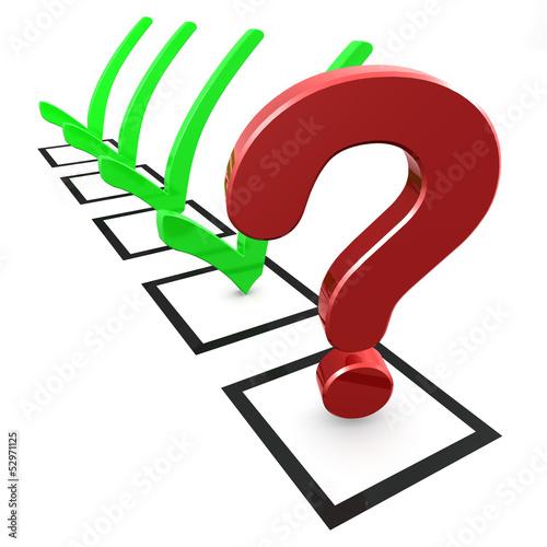 Checkliste - Fragezeichen