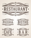 Vintage signs for restaurant and cafe