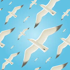 Vector seamless background with seagulls