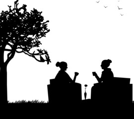 Silhouettes of girls in garden drinking coffee