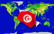 Fist in color  national flag of tunisia    punching world map