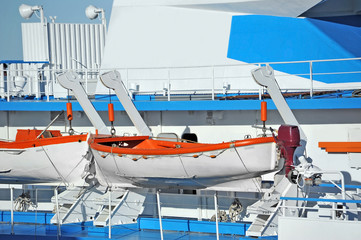 Safety lifeboat on deck of a cruise ship