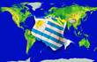 Fist in color  national flag of uruguay    punching world map