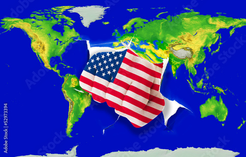 Fist in color  national flag of america    punching world map
