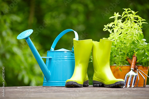 Rubber boots with watering can in wood terrace