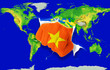 Fist in color  national flag of vietnam    punching world map