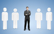 man among 3d people