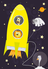 Animals and rocket in Space