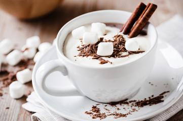 kakao mit marshmallows und gewürzen