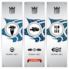 three variations of fish banners with geometrical designs
