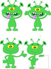 Cute geen alien cartoon collection set