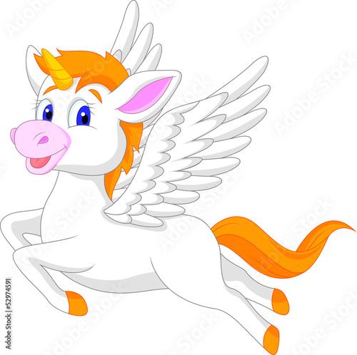 White unicorn horse cartoon