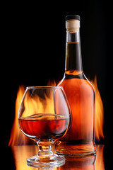 Bottle and glass of cognac