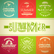 Summer vacation and holidays emblems with lettering